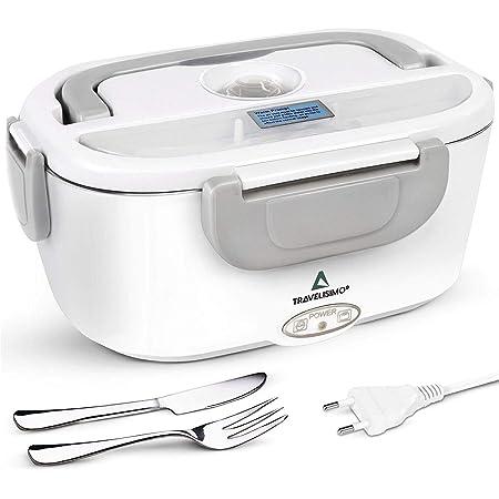 TRAVELISIMO Lunch Box Gamelle Chauffante Électrique pour Bureau et Travail 220V, Chauffe en Quelques Minutes, Acier Inoxydable 1.5L 40W, Boîte Isotherme Repas Chaud