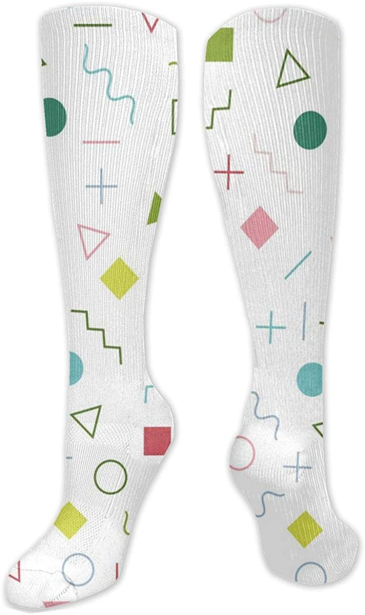 Colored Square And Triangle Knee High Socks Leg Warmer Dresses Long Boot Stockings For Womens Cosplay Daily Wear