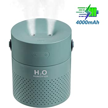 Famedy (Newest Design Dual Mist Spray Cordless Humidifier,1.1L Personal Humidifier with 4000mAh Battery, Travel Portable Humidifier, Ultrasonic Cool