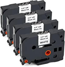 JARBO TZE231 Compatible Brother TZE-231 Label Tape Black on White, 4 Packs, 0.47 Inch x 26.2 Feet (12mm x 8m), Used for Brother P-Touch PT-D210 PT-D200 PT-D400AD PT-D600 PT-H100 PT-P700 Label Marker