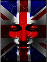 Old Glory Guy Fawkes Day Distressed British Flag Mask Rectangular Decal Sticker Multi Standard One Size
