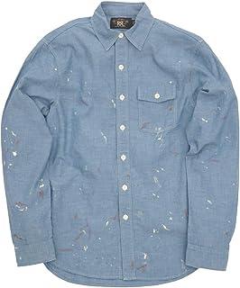 (ダブルアールエル) RRL 日本製生地 シャンブレー ワークシャツ ペイント加工 ブルー メンズ Painted Chambray Workshirt 並行輸入品 [並行輸入品]