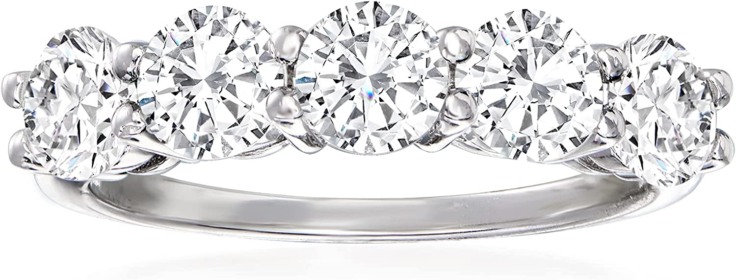 Ross-Simons 2.00 ct. t.w. CZ Silver Sterling 2021new All stores are sold shipping free Ring 5-Stone in