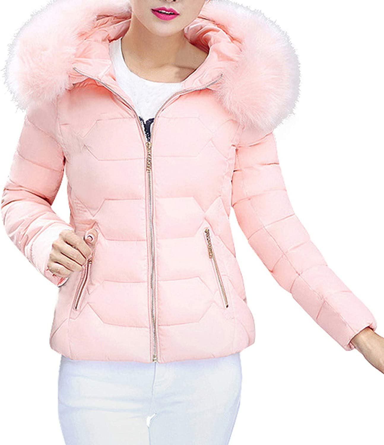 HGWXX7 Womens Coat Casual Faux Fur Hood Puffer Cropped Overcoat Zip Up Long Sleeve Warm Winter Down Jacket with Pockets Pink