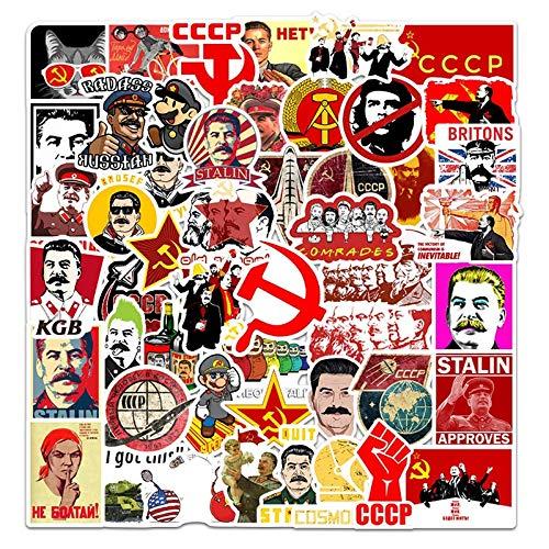 YZFCL London Red Bus Cabina telefónica Serie de Dibujos Animados Pegatina Equipaje Taza portátil Pegatina Impermeable 50 Piezas