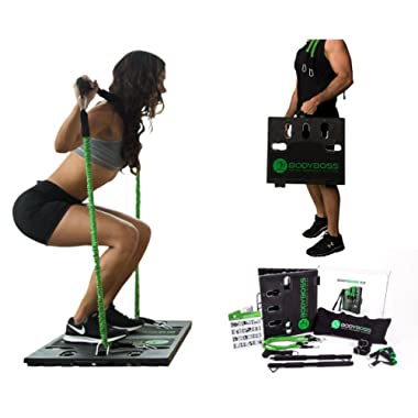 BodyBoss 2.0 - Full Portable Home Gym Workout Package + Resistance Bands - Collapsible Resistance Bar, Handles - Full Body Workouts for Home, Travel or Outside