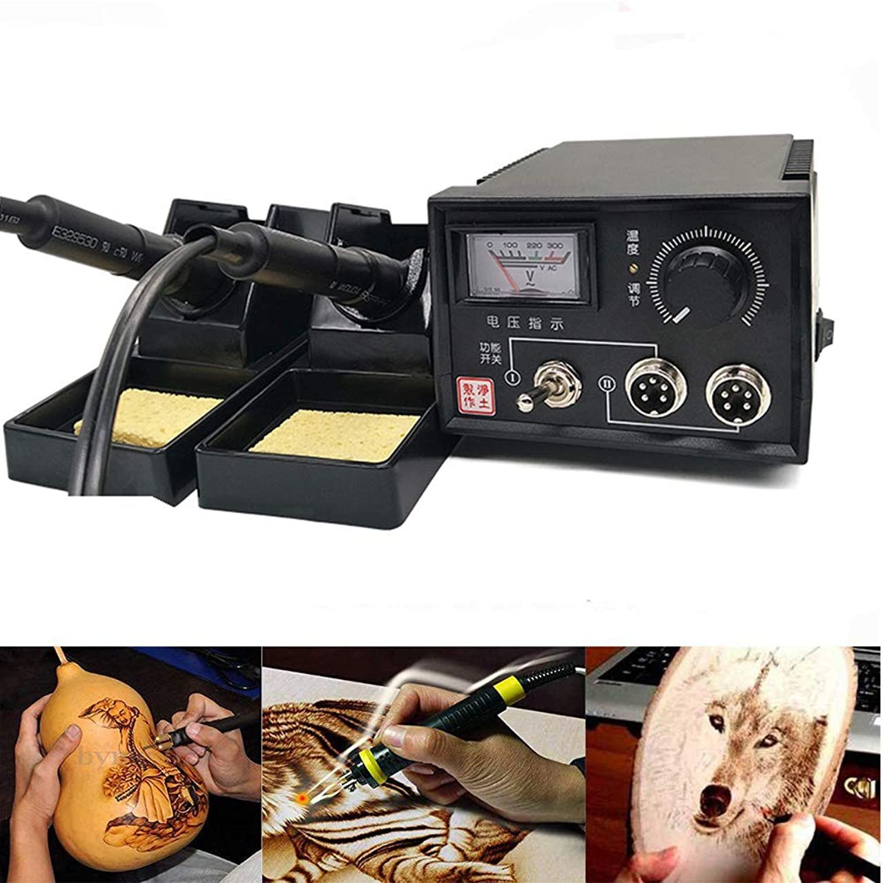 TOPCHANCES Professional Woodburning Detailer Laser Pyrography Machine Wood Burning Kit for Wood Leather,Christmas Nice Present (Dual Poniter Display)