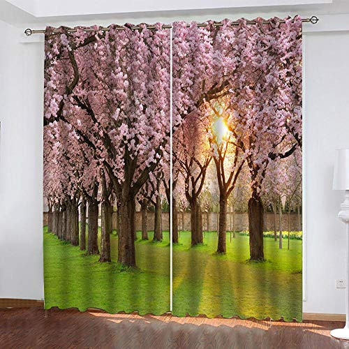 BJYHYGO Colorful Flower Curtain Printed for Boys Girls Bedroom,Pink Sakura Sunset Blackout Curtains for Child Nursery Bedroom Darkening Print Patterned Curtains Kids Decor 2pc x W 50' x L95
