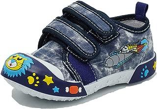 Boys Canvas Sneaker Outdoor Protective Toe Cap Hook & Loop Boat Shoes