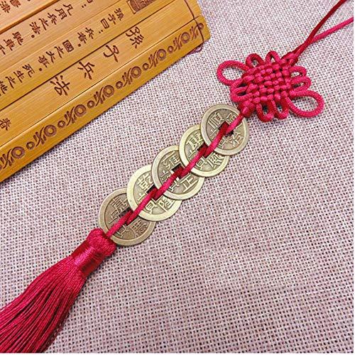 nxychunmei GBND1 Stück von fünf Kaiser Geld Glücksbringer alte Münzen rot chinesische Knotensammlung Geschenk Kupfermünze Schlüsselanhänger viel Glück Hauptdekoration rot