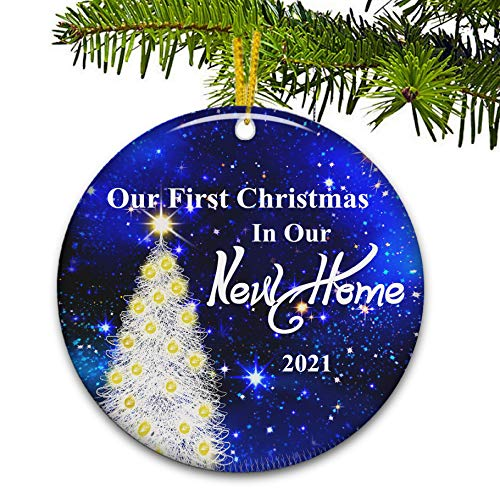 JUPPE Tempered Frosted Glass First Christmas in Our New Home 2020 Ornament Blue Sky & Gold Xmas Tree Decoration Romantic Couples Gift for Mr & Mrs Newlywed (Style1)