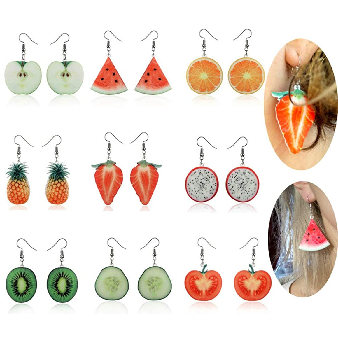 MissDaisy 9 Pairs Creative Cute Fruits Acrylic Earrings Funny Lifelike Fruits Drop Dangle Earrings for Women Girls