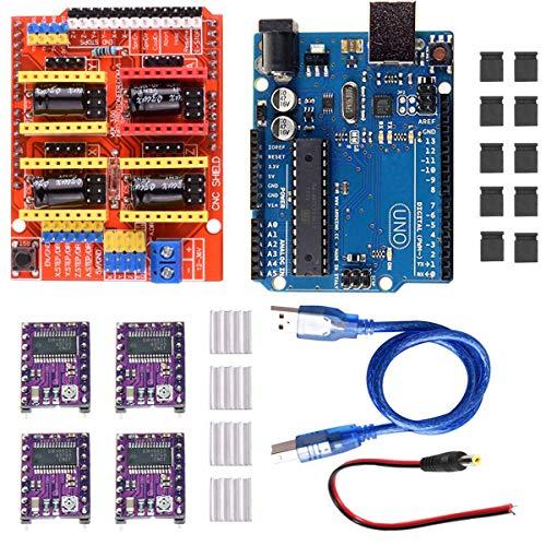 Youmile CNC Shield V3.0-Erweiterungskarte + Arduino UNO R3-Karte + DRV8255-Schrittmotortreiber mit Kühlkörper CNC Shield V3-Graviermaschine 3D-Drucker für Arduino-Kits mit USB-Kabel