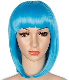 Short Blue Bob Wig Straight Bob Wig with Flat Bangs Synthetic Hair Aqua Blue Party Wig Heat Resistant (Light Blue,12 inches)