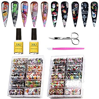 Kalolary 20 Rolls Halloween Christmas Starry Sky Stars Nail Art Foil with Nail Glue Holographic Nail Art Transfer Stickers Acrylic Decals DIY Decoration for Nail Art Salon or Home Use