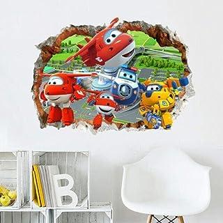 3D مظهر جدار صائق الكرتون معاينة سوبر أجنحة الجدار ملصق طائرة الفينيل صائق طفل روضة أطفال غرفة نوم