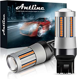 ANTLINE 7440 7444 T20 7440A 7440NA LED Bulbs Amber Yellow for Turn Signal Lights with Build-in Load Resistor CANBUS Error Free Anti Hyper Flash for Blinker Bulb Replacement (Pack of 2)