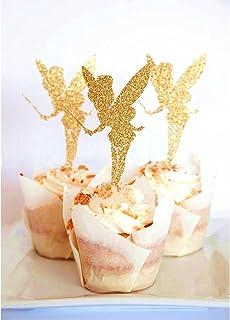 Prettyia 20pcs Angel Wooden Glitter Cake Topper Sticks for Wedding Cake Decor Gold