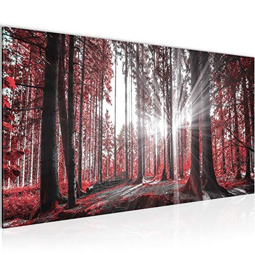Bilder Wald Landschaft Wandbild Vlies - Leinwand Bild XXL Format Wandbilder Wohnzimmer Wohnung Deko Kunstdrucke Rot 1 Teilig - MADE IN GERMANY - Fertig zum Aufhängen 503812c
