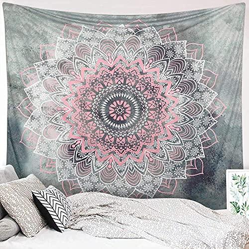 Dremisland Mandala Wandteppich Grau und Rosa Blume Tapisserie Wandbehang Indische Böhmische Hippie Wandteppiche Tuch Wandtuch Wand Dekoration für Schlafzimmer Wohnzimmer (L/203x153cm)
