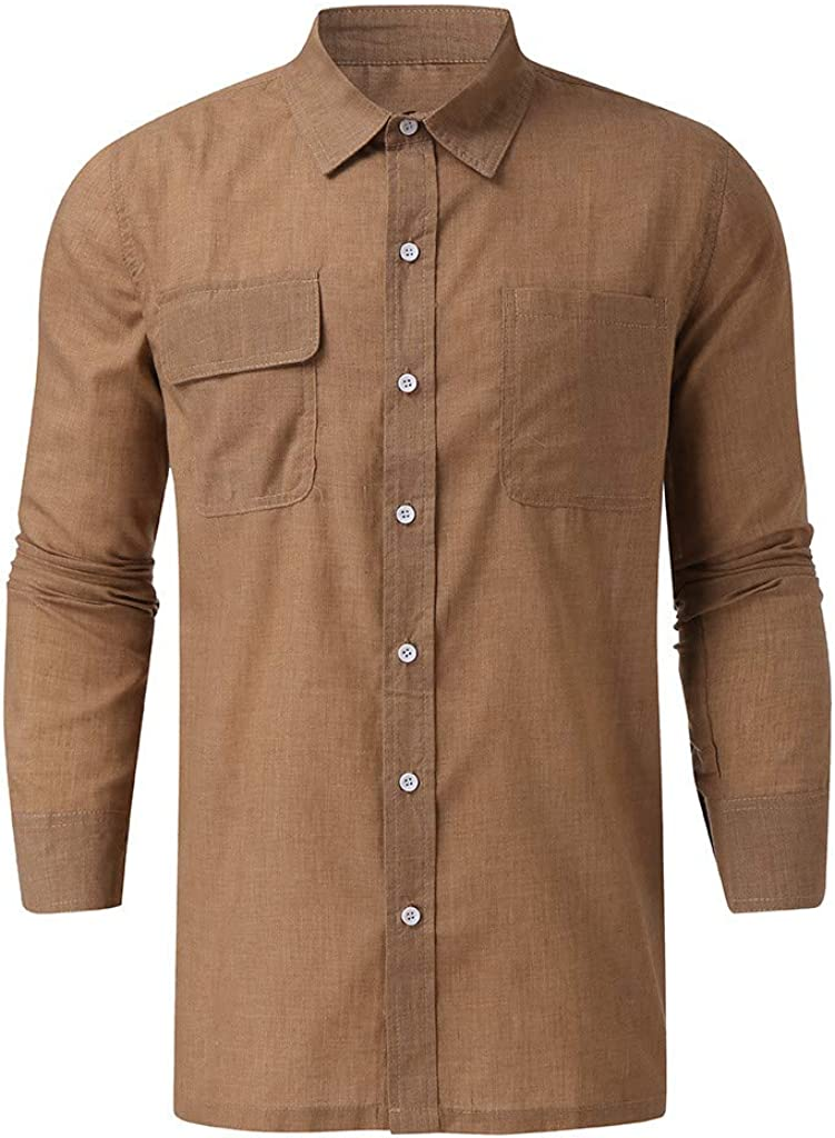 MODOQO Men's Striped Slim Fit Long Sleeve Casual Button Down Dress Shirts