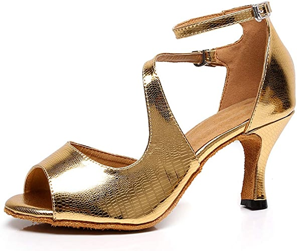 WHL.LL Des Femmes PU Chaussures Danse Latine Antidérapant Résistant à L'usure Chaussures Danse Confortable Fond Mou Poids Léger Chaussures Danse Salon (Hauteur Talon  7.5Cm)
