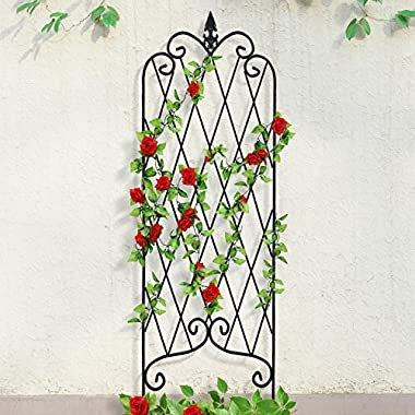 Amagabeli Garden Trellis for Climbing Plants 47  x 16  Rustproof Black Iron Potted Vines Vegetables Vining Flowers Patio Metal Wire Lattices Grid Panels for Ivy Roses Cucumbers Clematis Pots Supports