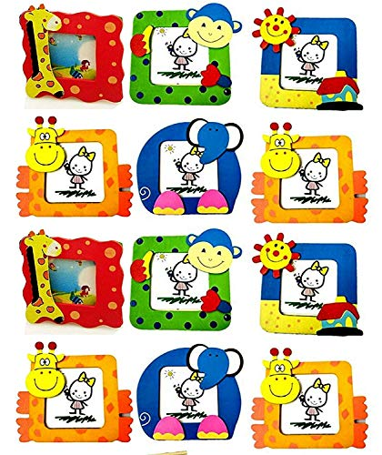 new creations-(pack of 12) wooden photo frame for kids / birthday return gifts / animal theme- Multi color