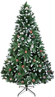 6 Ft Christmas Tree Flocking Spray White Tree with Pine Cone Decor 920 Branches Metal Stand