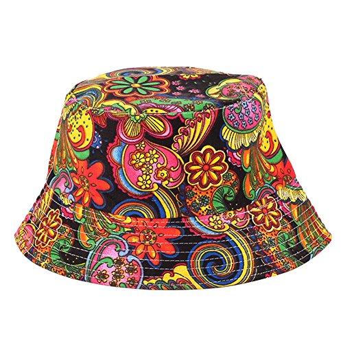 Ruikey Chapeau de pêcheur de Voyage, Chapeau de visière de Plantes Tropicales Unisexes