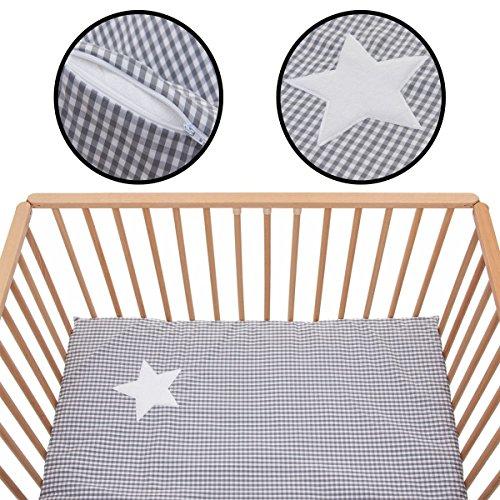 Tapis pour parc et lit d'enfant - Softy Karo - 100 x 100 cm - 100 % coton - Sac de transport