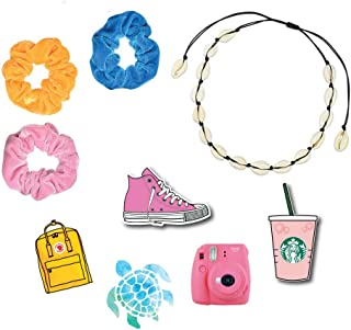 3 Scrunchies (Yellow, Pink, Blue) + 1 Shell Necklace Choker + More