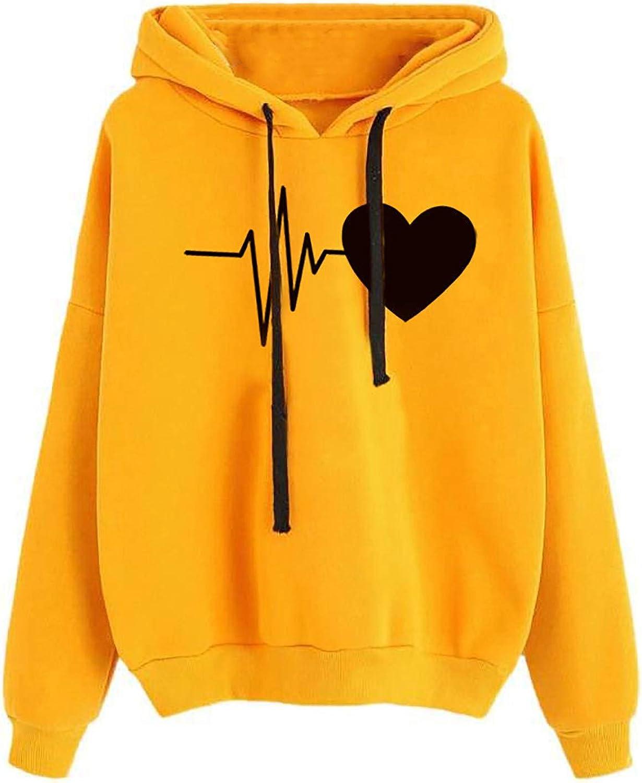 Hoodies for Women Teen Girls Long Sleeve Cute Heart Drawstring Hoodie Sweatshirt Casual Color Block Pullover Tops