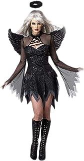 Fortuning's JDS Mujeres Cosplay Vestido Negro de ángel Alas Banda para el Cabello Halloween Disfraz de Fiesta