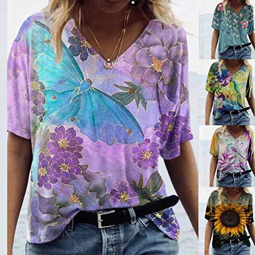 MEIYOUMK T Shirt Frauen Tunika Damen Sommer Locker Oberteile 3D Bunt Scenic Blumen Drucken T-Shirts V-Ausschnitt Retro Kurzarm Lässig Tshirt Top Hemd Bluse