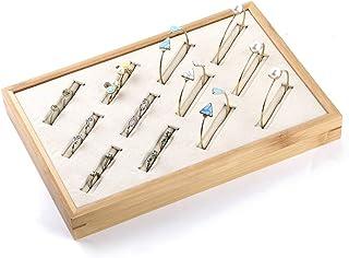 Coward Bamboo 12 Slots Bracelet Display Storage Jewelry Holder Pan (12 Slot Beige)