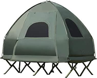 GYMAX Camping Tent Cot, Folding Tent Combo with Air Mattress & Sleeping Bag, Waterproof Shelter Off-Ground Tent with Carry Ba
