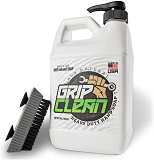 Grip Clean   Heavy Duty Hand Cleaner 1/2 gal + Fingernail Brush for Men - Stiff Bristle