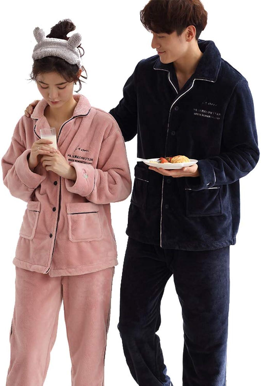 MINGXINTECH Couples Winter Flannel Velvet Pajama Set Plush Velvet Homewear