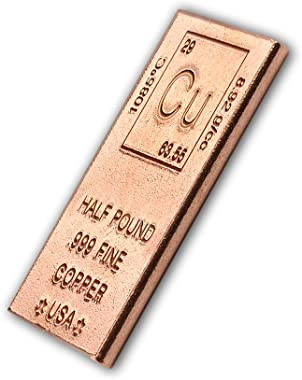 Half Pound Copper Bar Bullion Paperweight with Element Design (1/2 lb) with Certificate of Authenticity by CoinFolio