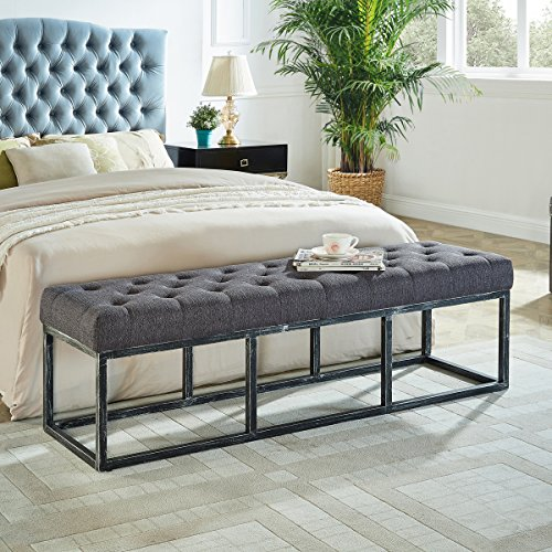 Upholstered Tufted Long Bench with Metal Frame Leg, Ottoman with Padded Seat-Dark Gray