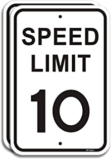 """2-Pack Speed Limit 10 MPH Sign Slow Down Traffic Sign 12""""x18"""" Rust Free 40Mil UV Printed Outdoor Metal Reflective Easy to Mount No Fading Outdoor Use for Neighbour Driveway Yard or School"""