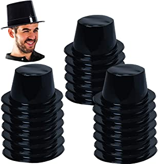 Plastic Top Hats - Magician Hats Bulk Black top Hats - Magician Party Supplies (20 Pack)