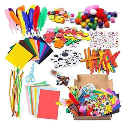 Kit Manualidades Niños Pipe Cleaners Crafts Set Creativo Arte DIY Kit para Niños con Pómpones/Chenilla Alambre/Muñeca Ojos/Tela De Fieltro/Palos De Madera Suministros De Arte De Manualidades