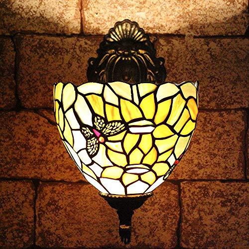 TOYM 8 inch Tiffany ramen en achterkant tuinzonnebloem zonnebloemen spiegellamp klassieke wandlamp