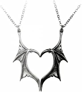 2 Pcs Bat Wing Necklace Charm Matching Demon Dragon Wing Love Heart Pendant Necklace Cool Gothic Choker Couple Family Frie...