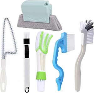 GIYOMI Window or Sliding Door Track Cleaning Brush,Hand-held Groove Gap,Window Blind Cleaner Duster,2-in-1 Windowsill Sweeper(6 Pack)