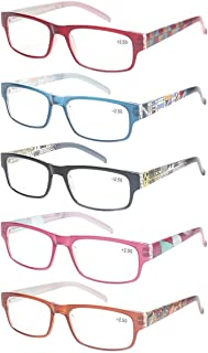 5 Pack Ladies Reading Glasses Spring Hinges Stylish Pattern
