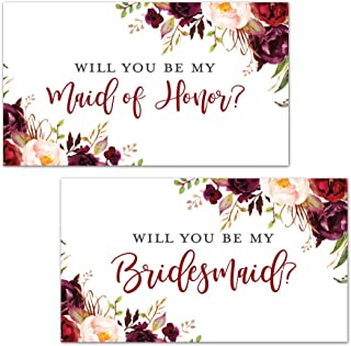 Burgundy Floral Bridesmaid Proposal Mini Champagne Bottle Labels - Set of 12