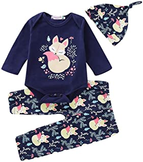 Fairy-Baby Infant Baby Boy Girl Floral Cartoon Animal Romper Pants Hat Sleepwear Outfits